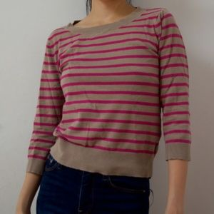 Used Pink and Brown Crew-neck Sweater